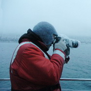 Researcher photographing whales in Seymour Canal, Alaska